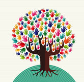 Colorful diversity tree hands. Illustration over stripe pattern background. Vector file layered for easy manipulation and custom coloring Royalty Free Stock Photography