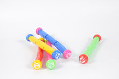 Colorful diving sticks for playing in pool, summer sports and ga Royalty Free Stock Photos