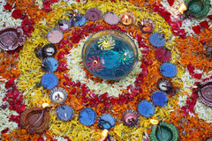 Colorful Diwali Decoration. Colorful lamps and flowers arranged beautifully and traditionally during the Diwali festival in India Stock Photos