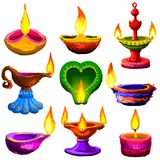 Colorful Diwali Diya Royalty Free Stock Photos