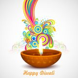 Colorful Diwali. Illustration of colorful swirls coming out of Diwali diya