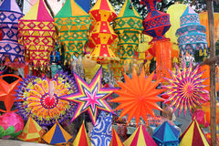 Colorful Diwali Lanterns. A background of beautiful lanterns in traditional colors and design for Diwali / Christmas festival in India