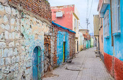The colorful Diyarbakir. The poor residential neighborhood boasts the colorful houses and fences, Diyarbakir, Turkey Royalty Free Stock Images