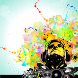 Colorful DJ Disco Flyer with Rainbow Colours Royalty Free Stock Image
