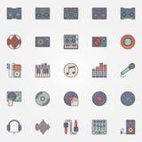 Colorful DJ icons set Royalty Free Stock Image