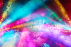 Colorful DJ Party Lights and Fog From all Angles stock image