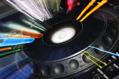 Colorful DJ player station. Photo of a Dj player station taken in a disco Royalty Free Stock Images
