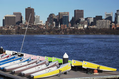 Colorful docked sailboats and Boston Skyline, Charles River, Massachusetts, USA Stock Photo