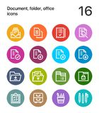 Colorful Document, folder, office icons for web and mobile design pack 1. 16 line colorful vector icons Royalty Free Stock Images
