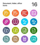 Colorful Document, folder, office icons for web and mobile design pack 2. 16 line colorful vector icons Stock Photography