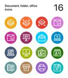 Colorful Document, folder, office icons for web and mobile design pack 4. 16 line colorful vector icons Royalty Free Stock Image