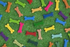 Colorful dog bones background. Colorful dog bones on green turf background Royalty Free Stock Images