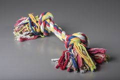 Colorful dog cotton rope for games and fun, grey background, top front view, dog training accessory. Colorful dog cotton rope for games and fun, grey background Stock Photography