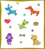 Colorful Dogs. Cute set of five colorful dogs. Eps10 Royalty Free Stock Images