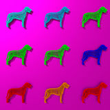 Colorful dogs illustration patten. Colorful low-poly abstract dogs illustration pattern Stock Photography