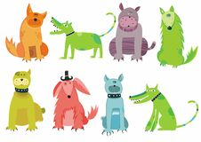 Colorful dogs set Royalty Free Stock Photography