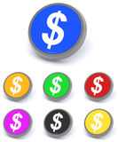 Colorful dollar buttons. Three dimensional illustration of circular dollar bill signs on buttons, white background Royalty Free Stock Image