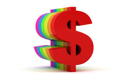 Colorful dollar sign Royalty Free Stock Photos