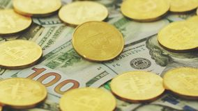 Colorful dollars with shiny coins stock video footage