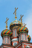 Colorful domes of Stroganov Church in Nizhny Novgorod. Stroganov Church in Nizhny Novgorod. Church of the Nativity of Our Lady. Russia Royalty Free Stock Images