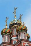 Colorful domes of Stroganov Church in Nizhny Novgorod Royalty Free Stock Images