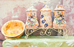 Colorful domestic utensils in rural style Royalty Free Stock Photo
