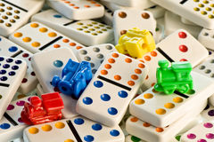 Colorful Dominoes and Trains Stock Photos