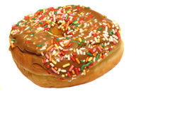 Colorful donut. With multicolor sprinkles on a white background Royalty Free Stock Photo