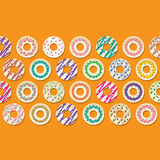 Colorful Donut Border Background. Royalty Free Stock Photos
