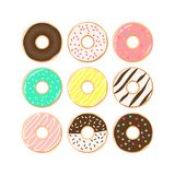 Colorful donuts cartoon set. Doughnuts with sprinkles, pink, chocolate, turquoise icing clipart. vector illustration