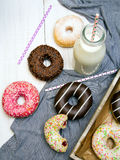 Colorful donuts with chocolate and icing Royalty Free Stock Image