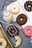Colorful donuts with chocolate and icing Royalty Free Stock Photography