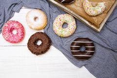 Colorful donuts with chocolate and icing Royalty Free Stock Photo