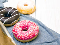 Colorful donuts with chocolate and icing, Stock Photos