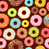 Colorful donuts icons background. Sweet bakery vector. Colorful glazed donuts icons seamless background. Sweet bakery vector with decorations - top view royalty free illustration