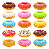 Colorful donuts icons set. Sweet bakery vector. Colorful glazed donuts icons set. Sweet bakery vector with decorations Stock Photography