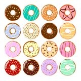 Colorful donuts set. Royalty Free Stock Images