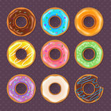Colorful donuts sweet set Royalty Free Stock Photography
