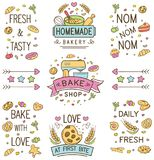 Colorful doodle bakery Logo and Ornament stock illustration