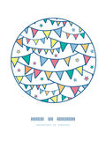Colorful doodle bunting flags circle decor pattern Stock Photo