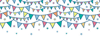 Colorful doodle bunting flags horizontal seamless Stock Photos