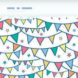 Colorful doodle bunting flags horizontal torn Stock Images