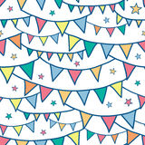 Colorful doodle bunting flags seamless pattern Royalty Free Stock Images