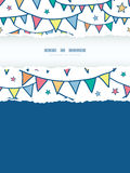 Colorful doodle bunting flags vertical torn frame Royalty Free Stock Photography