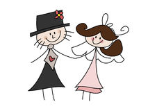 Happy cartoon wedding couple. Colorful doodle (cartoon) illustration of a happy bride and groom holding hands Stock Photography