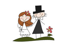 Happy cartoon wedding couple. Colorful doodle (cartoon) illustration of a happy bride and groom on their special day Stock Photo