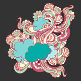 Colorful doodle with clouds and flowers Royalty Free Stock Image