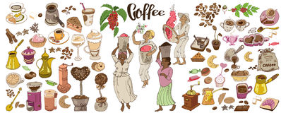 Colorful Doodle Coffee Elements Set Royalty Free Stock Photos