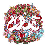 Colorful doodle decorative love composition with lettering and ornate elements Stock Image