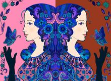 Colorful doodle drawing of beautiful women with butterflies Royalty Free Stock Photos